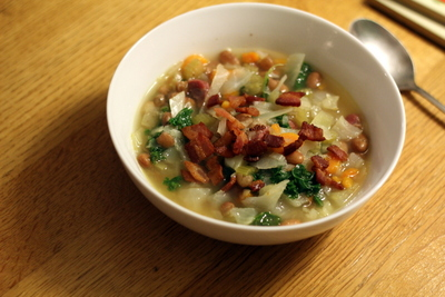 Ham Bone, Greens & Bean Soup